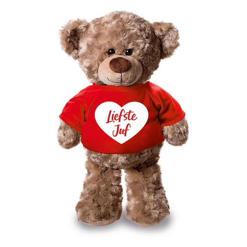 Pluche knuffel teddybeer 24 cm met liefste juf hartje t-shirt