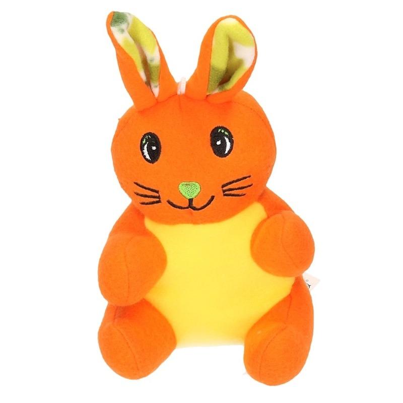 Pluche konijn/paashaas knuffel oranje 23 cm