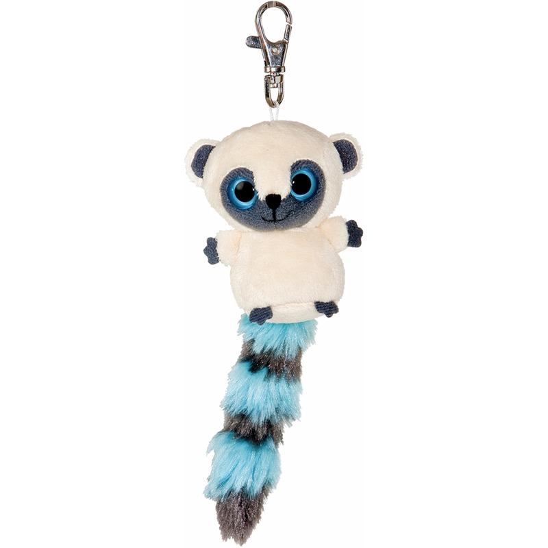 Pluche nacht aap sleutelhanger blauw 7,5 cm