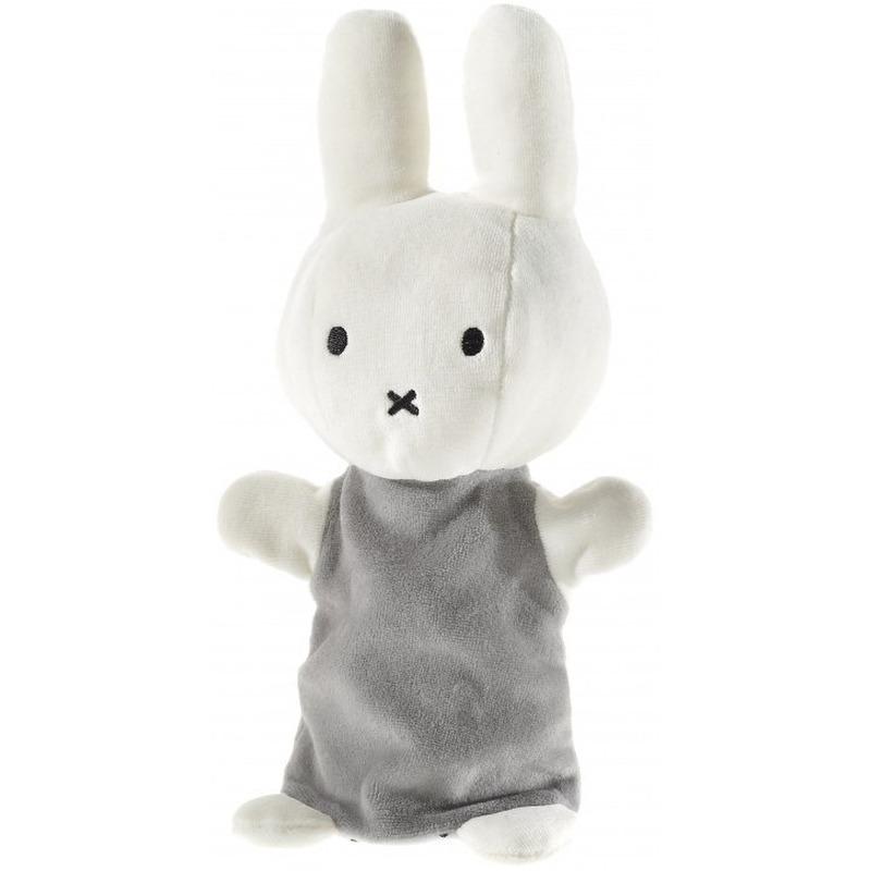 Pluche Nijntje handpop knuffel wit/grijs 26 cm baby