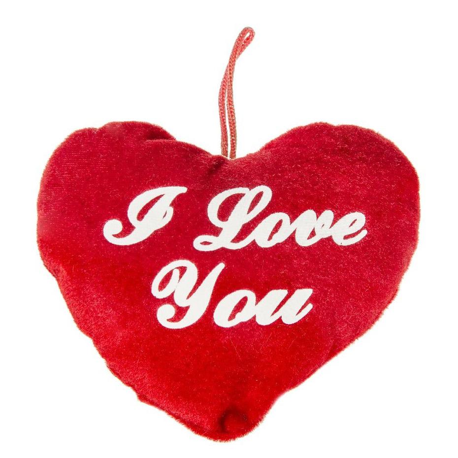 Pluche rood hart kussen I Love You 13 cm