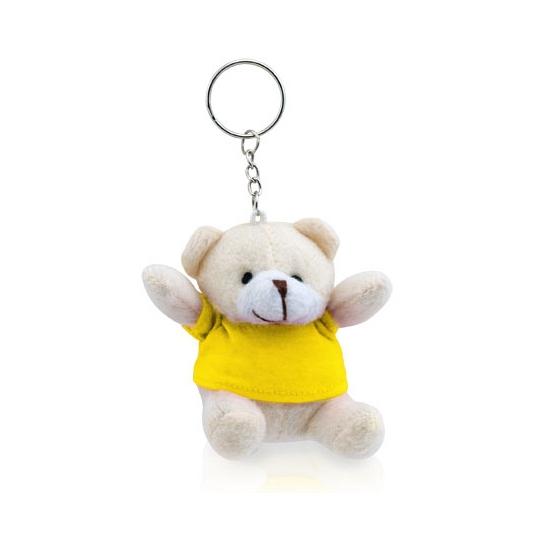 Pluche sleutelhanger teddybeer geel 8 cm