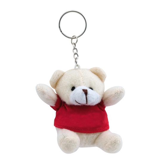 Pluche sleutelhanger teddybeer rood 8 cm