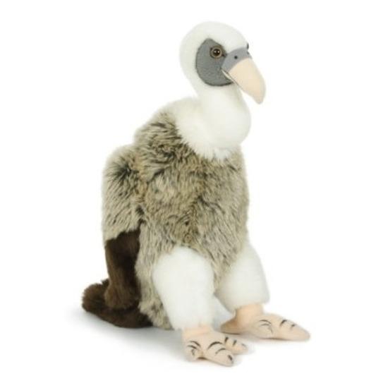 Pluche wit/grijze gier vogel knuffel 30 cm speelgoed