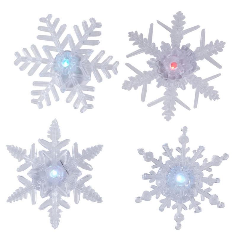 Raamdecoratie 4x LED verlichte sneeuwvlokken zuignappen