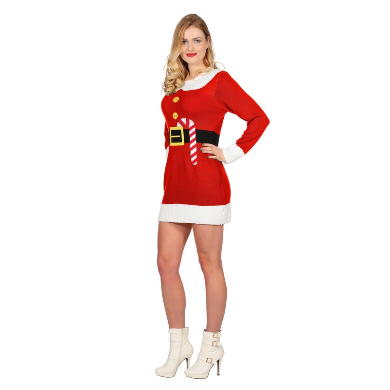 cf8fb56e8dd159 Een rode kerstjurk met opdruk van een riem en een zuurstok