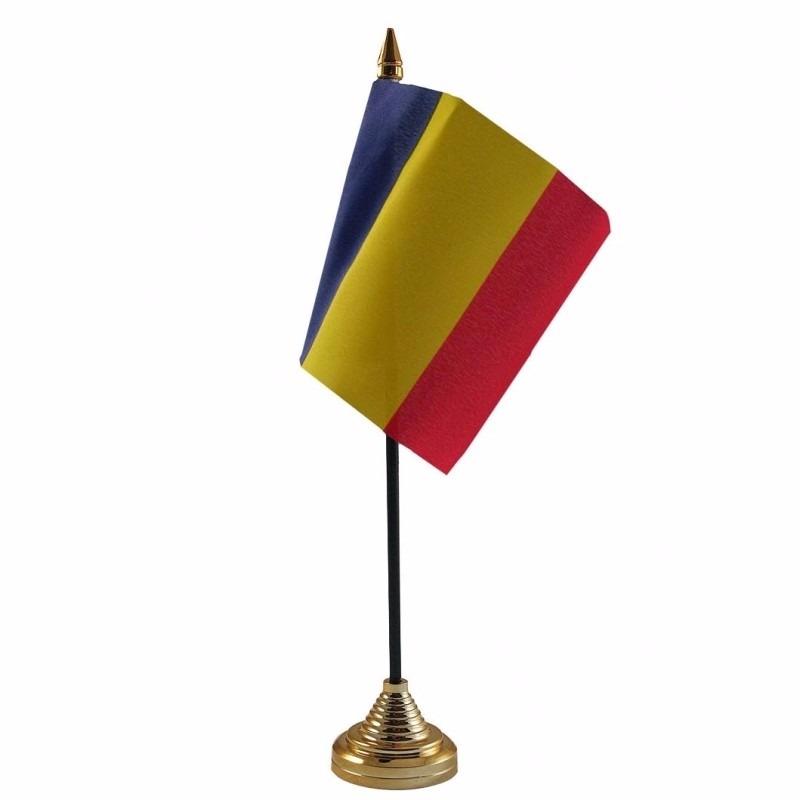 Roemenie tafelvlaggetje 10 x 15 cm met standaard
