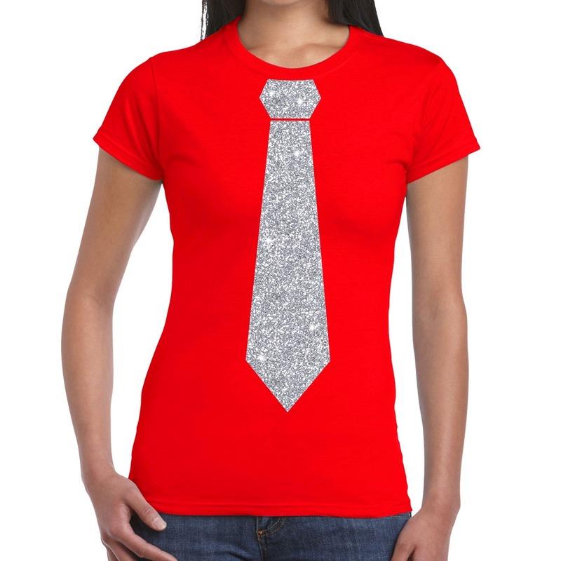 Rood fun t-shirt met stropdas in glitter zilver dames