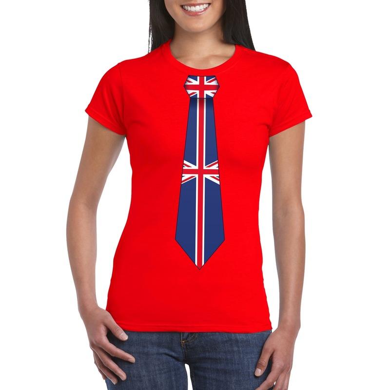 Rood t shirt met engeland/ great britain vlag stropdas dames. leuk shirt voor een wk/ ek of ander engels ...