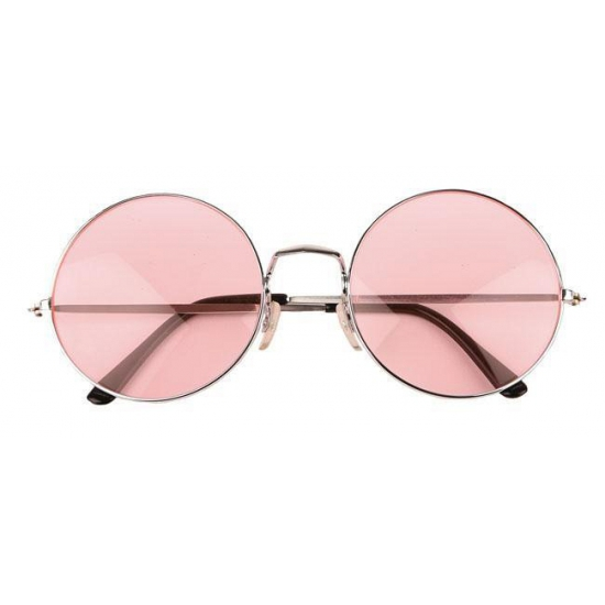 Roze hippie bril met extra grote glazen. deze flower power xl bril heeft een zilverkleurig frame en roze ...