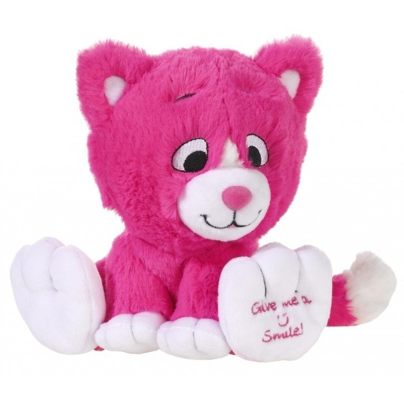 Roze knuffel kat/poes Give me a smile 14 cm