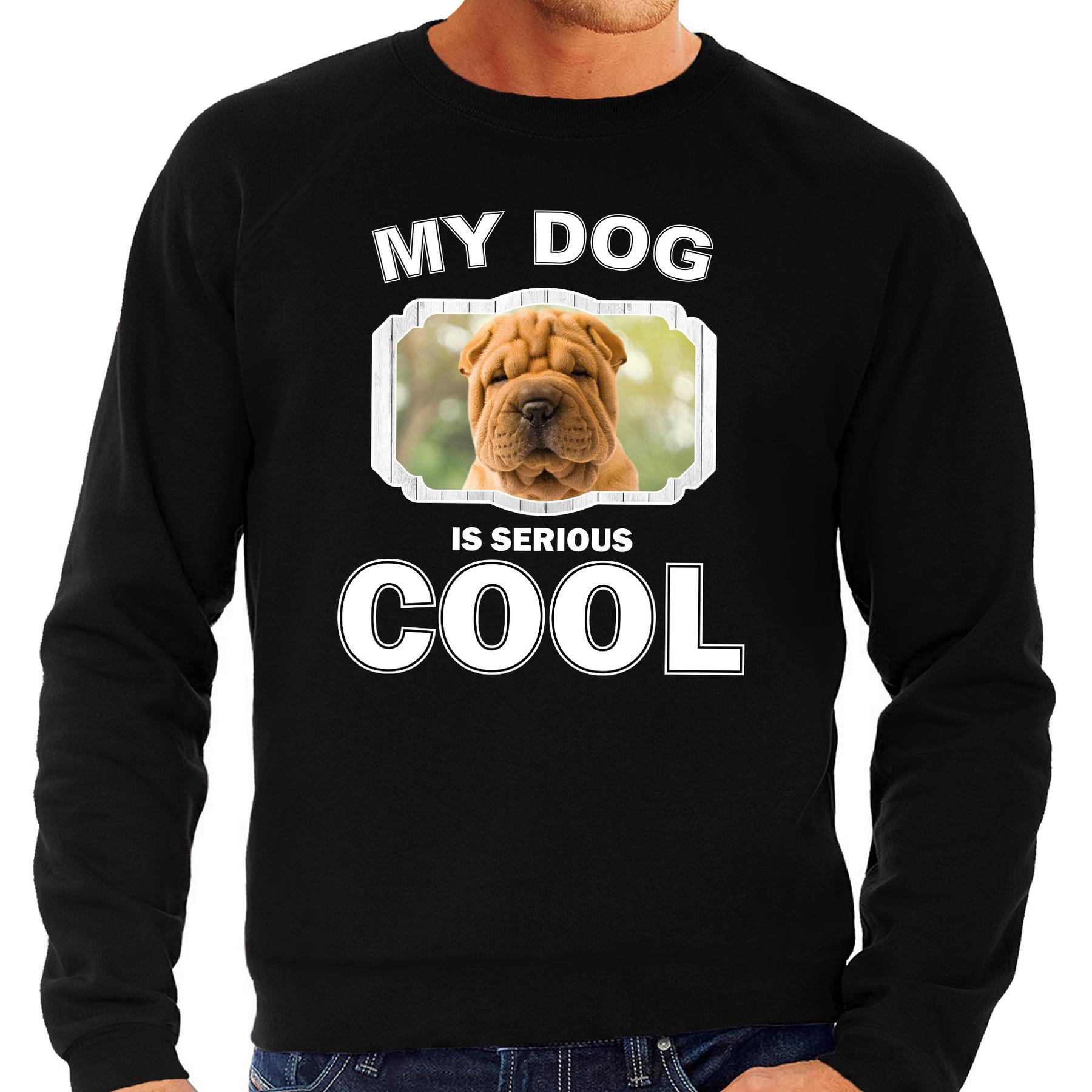 Shar pei honden sweater - trui my dog is serious cool zwart voor heren