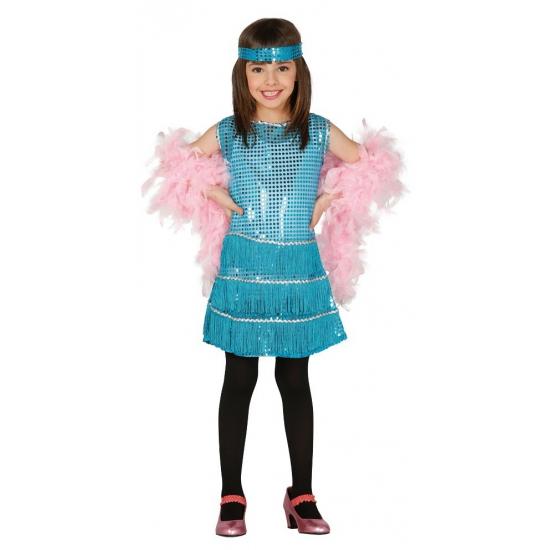 72d05711af91b4 Showgirl jurkje blauw voor meisjes. een schattig blauwkleurig showgirl  jurkje met blauwe pailletten. het