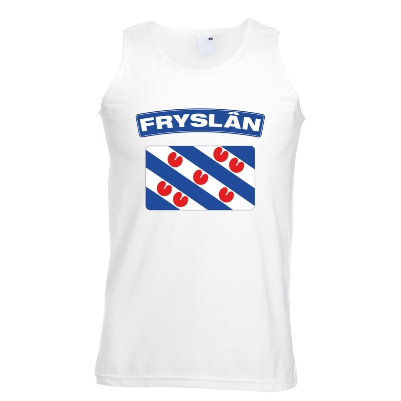 Singlet shirt/ tanktop Friese vlag wit heren