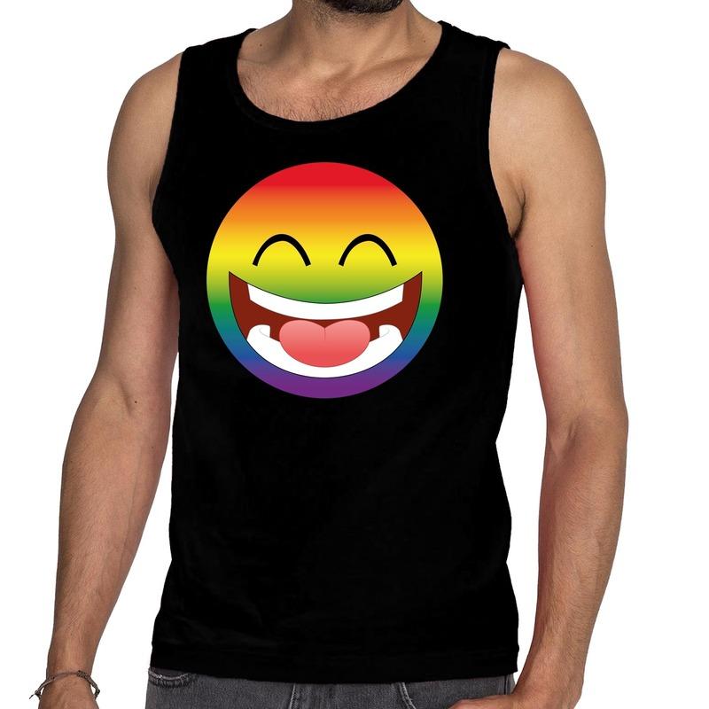 Smiley/emoji regenboog gay pride tanktop zwart heren