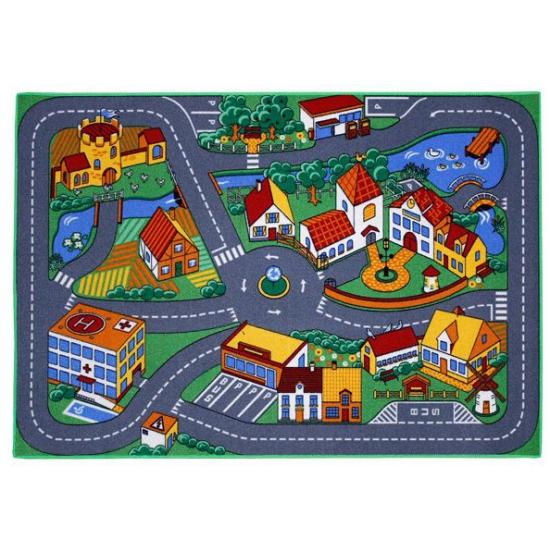 Speel tapijt dorp met wegen 95 x 133 cm