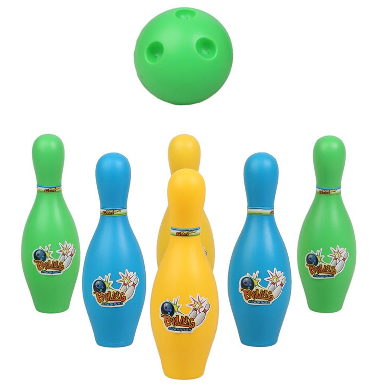 Speelgoed bowlingset met 6 kegels en een bal voor kinderen