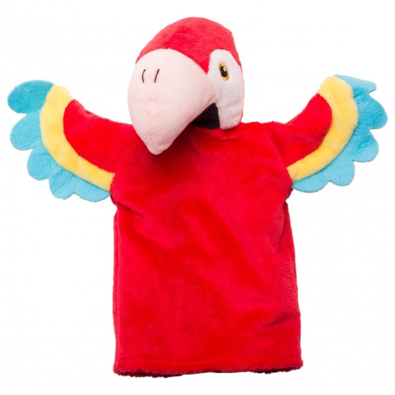 Speelgoed handpoppen knuffel papegaai 22 cm