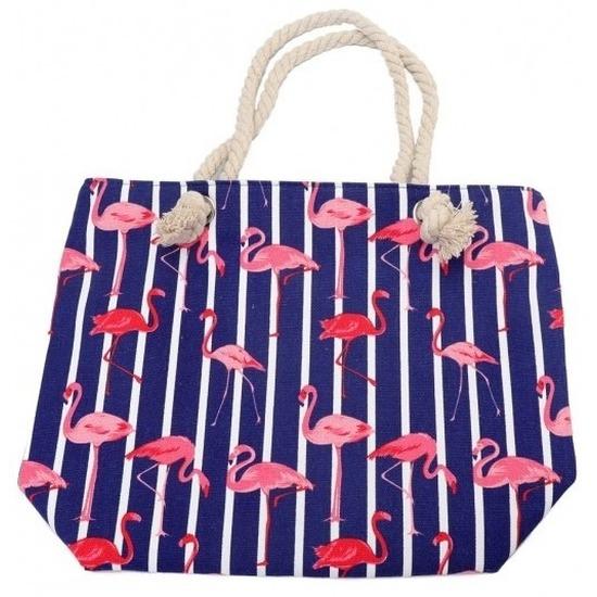 Strandtas flamingo/strepen blauw 43 cm