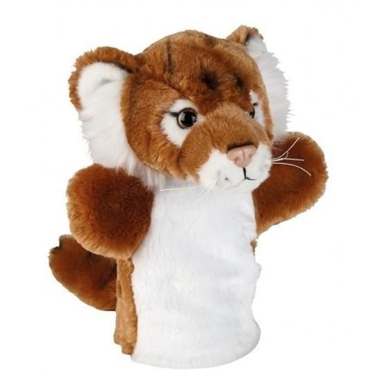 Tijgers speelgoed artikelen tijger handpop knuffelbeest bruin 26 cm