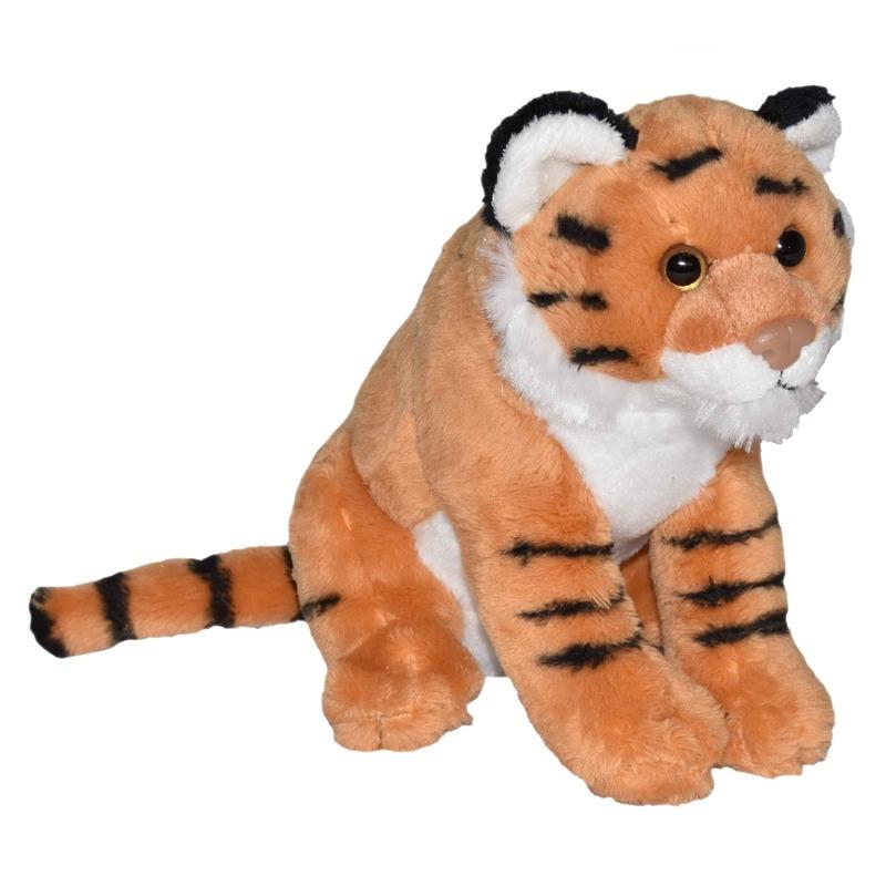 Tijgers speelgoed artikelen tijger knuffelbeest bruin 20 cm