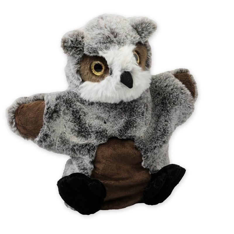 Uilen speelgoed artikelen uil handpop knuffelbeest grijs 22 cm