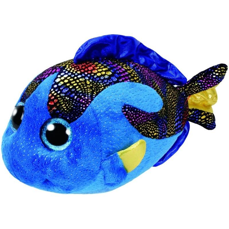 Vis/vissen speelgoed artikelen Ty Beanie vis/vissen knuffelbeest Aqua blauw 24 cm