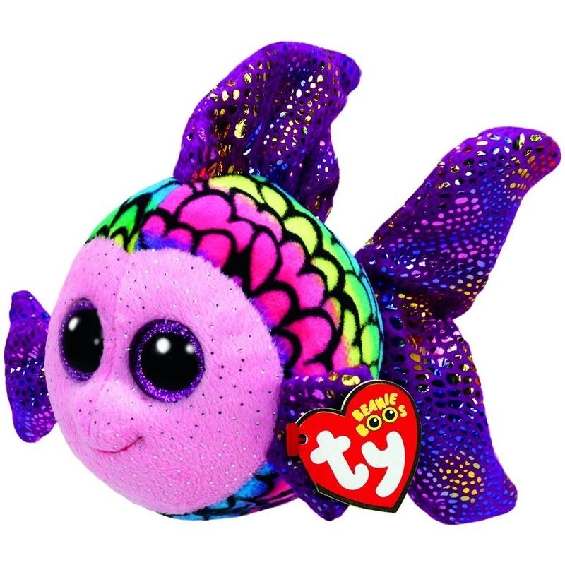 Vis/vissen speelgoed artikelen Ty Beanie vis/vissen knuffelbeest Flippy gekleurd 24 cm