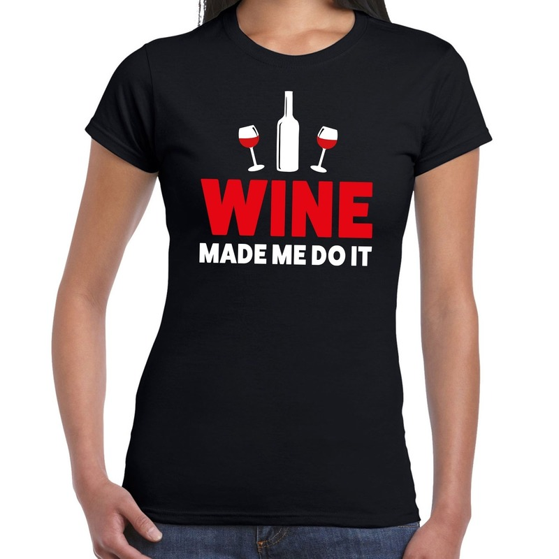 Wine made me do it drank fun t-shirt zwart voor dames