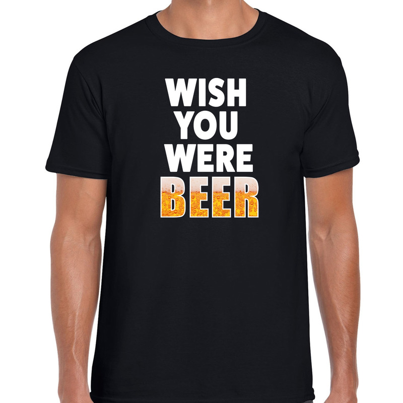 Wish you were beer drank fun t-shirt zwart voor heren