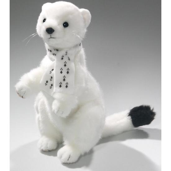 Witte wezel knuffels 24 cm
