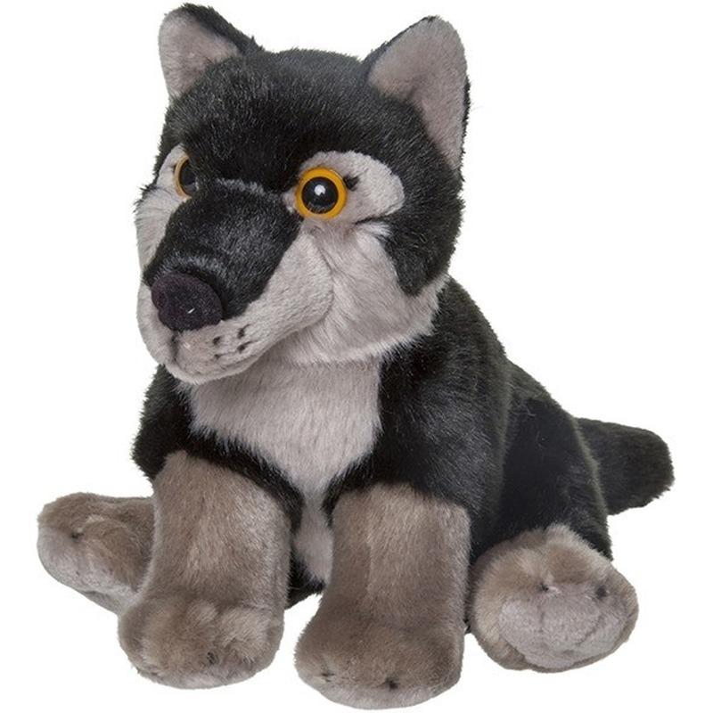 Wolven speelgoed artikelen wolf knuffelbeest zwart 18 cm