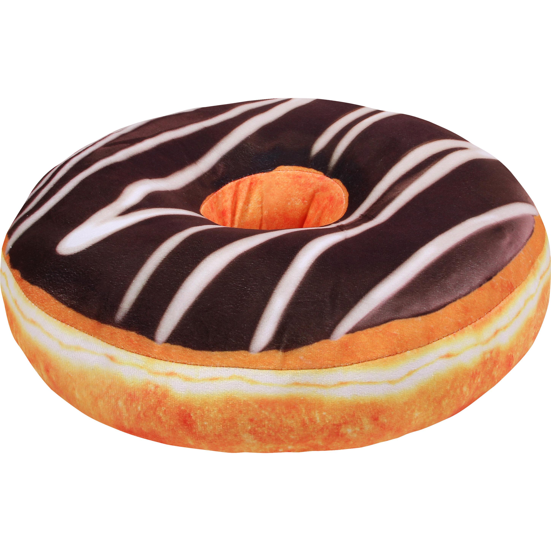 Woonaccessoire bruin donut kussentje 40 cm
