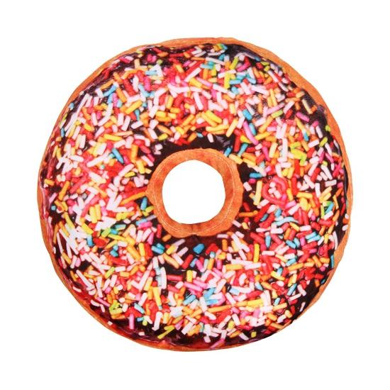 Woonaccessoire donut kussen bruin 40 cm
