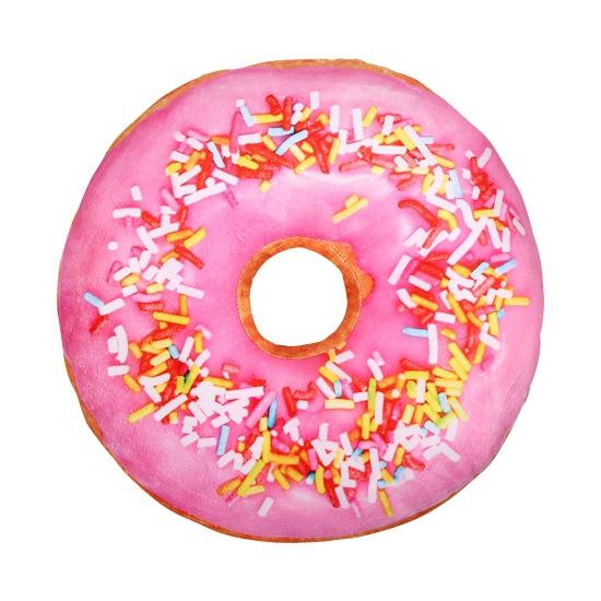 Woonaccessoire licht roze donut kussen 40 cm