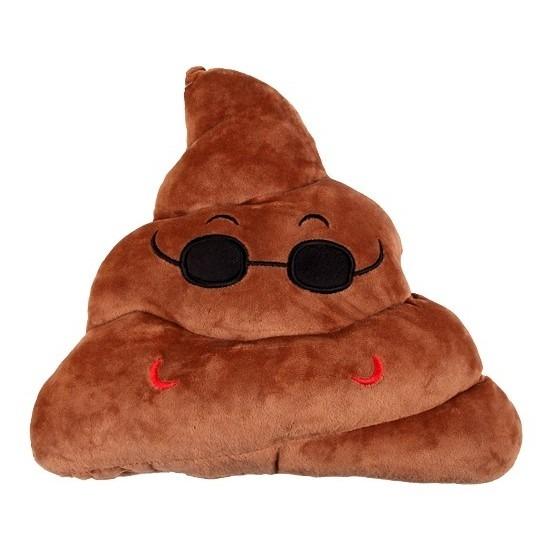 Woonkussen drolletje emoticon met zonnebril 33 cm