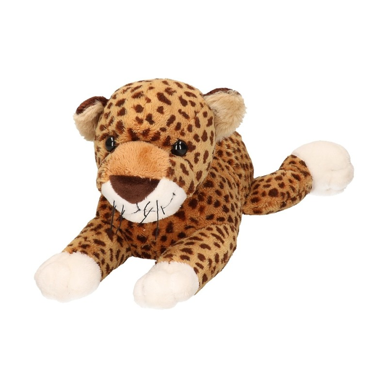 Zachte liggende luipaard knuffel 32 cm
