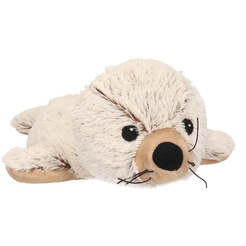 Zeehonden speelgoed artikelen opwarmbare zeehond knuffelbeest bruin / creme 31 cm