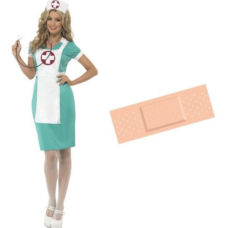Zuster verkleed jurk dames 44/46 met gratis pleister sticker