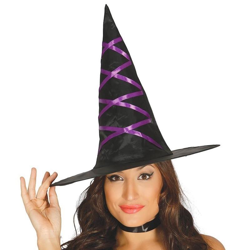 Zwarte heksenhoed met paars lint voor dames