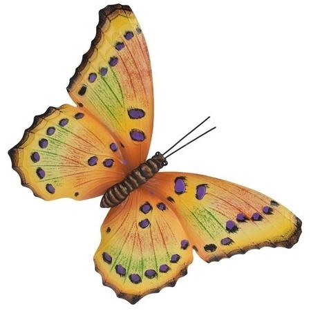 Tuin Schutting Decoratie Geel Paarse Vlinder 44 Cm Bestellen Voor 8 99 Bij Het Knuffelparadijs